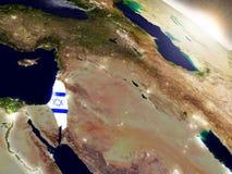 Izrael z flaga w powstającym słońcu Fotografia Royalty Free