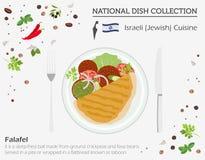 Izraelicka kuchnia Środkowy Wschód naczynia krajowa kolekcja Żydowski f ilustracja wektor