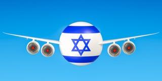 Izraelickie linie lotnicze x27 i flying&; s, loty Izrael pojęcie 3d ren Zdjęcia Stock