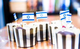 Izraelickie mini flaga smakowite Fotografia Royalty Free