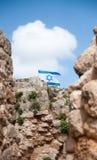 Izraelita flaga nad Kakun kasztelu ruinami Zdjęcie Royalty Free