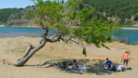 IZTUZU-SCHILDPADstrand, DALYAN, TURKIJE - MEI 20150: de mensen genieten van stock video