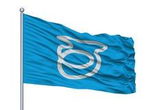 Izu City Flag On Flagpole, de Prefectuur van Japan, Shizuoka, op Witte Achtergrond wordt geïsoleerd die Vector Illustratie