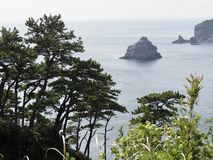 Picturesque Coast of Izu Peninsula. Izu Peninsula and its Geopark are one of the beautiful places near Tokyo, Japan. You can enjoy here nature, mountains and sea royalty free stock photography
