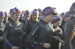 Izuzi ironman 70.3 world championship in South Africa.This event was sponsor by Izuzi at kings beach in Port Elizabeth in South Af. Start of woman Izuzi ironman royalty free stock photography