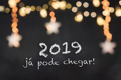 2019 já pode chegar in a black background with blurred lights and stars stock images