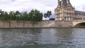 Jábega del río de París almacen de metraje de vídeo