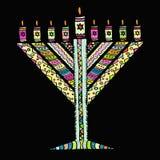 Jánuca colorido en el estilo del garabato Hanukkah triangular Chabad Día de fiesta judío de Hanukkah Drenaje de la mano bosquejo