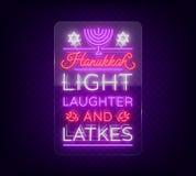 Jánuca feliz, tarjeta de felicitación en un estilo de neón Ilustración del vector Texto luminoso de neón a propósito de Hanukkah
