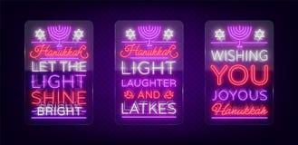 Jánuca feliz, una colección de la tarjeta de felicitación en un estilo de neón Ilustración del vector Texto luminoso de neón a pr