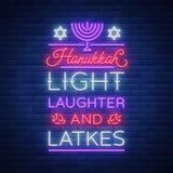 Jánuca feliz, una tarjeta de felicitación en un estilo de neón Ilustración del vector Texto luminoso de neón a propósito de Hanuk