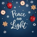 Jánuca, festival de la luz judío Tarjeta de felicitación, invitación La mano puso letras al tex de la paz y de la luz Estrellas d ilustración del vector
