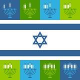 Jánuca judío Menorah mira al trasluz iconos ilustración del vector