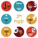 Jánuca, 8 velas para el día de fiesta de ocho días día de fiesta feliz en hebreo stock de ilustración