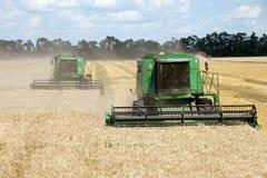 JÁRKOV, UCRANIA - 12 DE JULIO DE 2011: Cosecha del campo de trigo en Járkov Oblast en la Ucrania Imagen de archivo