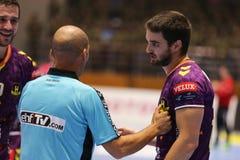 JÁRKOV, UCRANIA - 22 DE SEPTIEMBRE: Partido de liga de los campeones de los hombres del EHF entre el motor Zaporozhye y HBC Nante Imágenes de archivo libres de regalías