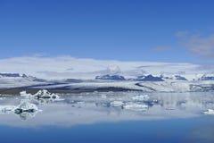 Jökulsarlon glaicer laguny lód i śniegu krajobraz obraz stock
