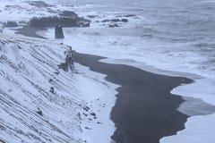 JökursÃ-¡ rlà ³ n: der Strand des Eisbergs, des Eises und der Kälte Stockfotos