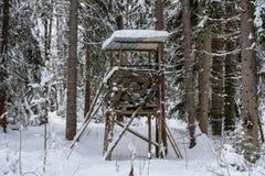 Jägare bygga bo eller står högt i mitt av skogen i vinter Arkivbild