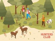 Jägare klubbar den isometriska affischen royaltyfri illustrationer