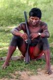 Jägare Krikati - infödda indier av Brasilien royaltyfri fotografi