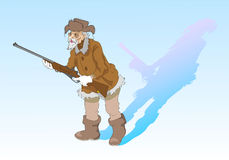 Gammal jägare stock illustrationer