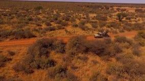 Jägare rider i baksidan av SUV i savannahen stock video