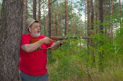 Jägare som söker efter ett stort fä Arkivbilder