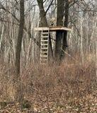 Jägare Treestand i skogen Royaltyfri Foto