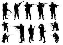 Jägarekonturer vektor illustrationer