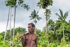 Jägaren för ståendeKorowai man med pilen och pilbågen Stam av Korowai (Kombai, Kolufo) Arkivfoto