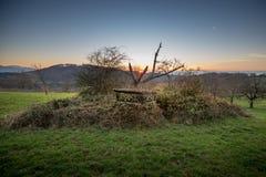 Jägares rullgardin i tyskt landskap Arkivfoto