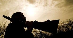 jägaresilhouette Royaltyfri Bild