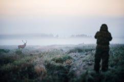 Jäger, der ein Gewehr hält und Rotwild, photoshooting Jäger zielt Lizenzfreie Stockbilder