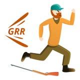 Jäger, der weg Ikone, Karikaturart laufen lässt stock abbildung