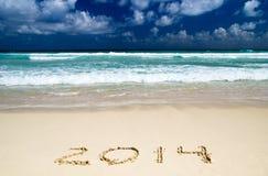 2014 auf Sand Lizenzfreies Stockfoto