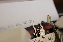 2014-jährig auf Schreibmaschine Stockfotografie