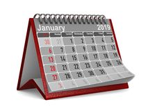 2019-jährig Kalender für Januar Lokalisierte Illustration 3d stockfotografie