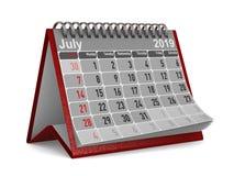2019-jährig Kalender für Juli Lokalisierte Illustration 3d stockbild
