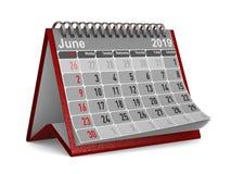 2019-jährig Kalender für Juni Lokalisierte Illustration 3d lizenzfreie stockfotografie