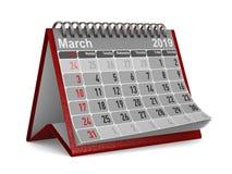 2019-jährig Kalender für März Lokalisierte Illustration 3d stockbilder