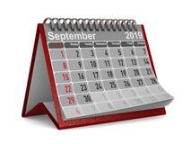 2019-jährig Kalender für September Lokalisierte Illustration 3d vektor abbildung