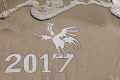 2017-jährig vom Hahn auf dem Strand Stockfotos