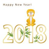 2018-jährig vom Hund auf dem chinesischen Kalender gelb stock abbildung