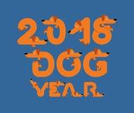 2018-jährig vom Hund Beschriftung ist Haustier Buchstaben vom Haupttier Ne Lizenzfreies Stockfoto