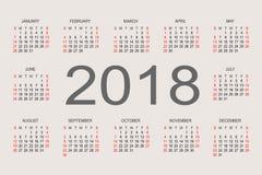 2018-jährige Designschablone des Kalenders Lizenzfreies Stockfoto