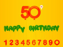 50-jährige Geburtstagsfeierkarte, 50. Jahrestag mit Balloneffekt und Zahlen Lizenzfreies Stockfoto