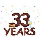 33-jährige glückliche Glückwunschkarte mit Kuchen lizenzfreie abbildung
