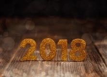 2018-jährige goldene Zahlen Stockbild