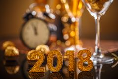 2018-jährige goldene Zahlen Lizenzfreies Stockfoto